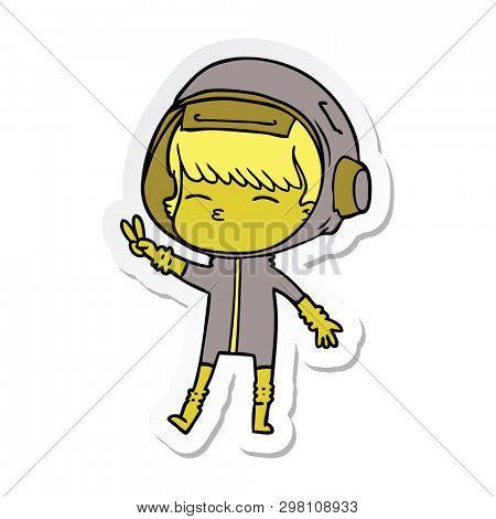 sticker of a cartoon spacegirl making peace sign
