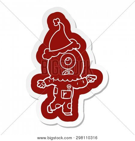 quirky cartoon  sticker of a cyclops alien spaceman pointing wearing santa hat poster