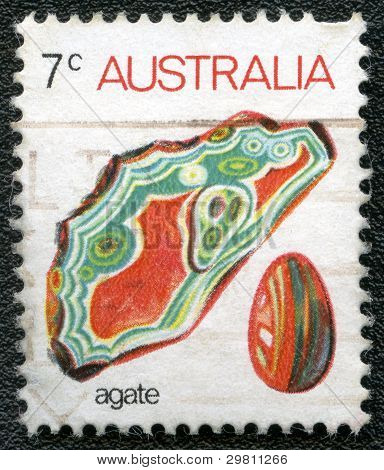 Australia - Circa 1973: A Stamp Printed In Australia Shows Agate, Circa 1973
