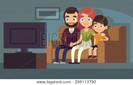Family Watching Tv. Happy Family Watch Tv Movie Home Room Sitting Couch Woman Man Kids Indoors Enter
