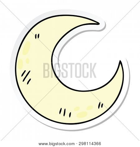 sticker of a quirky hand drawn cartoon crescent moon