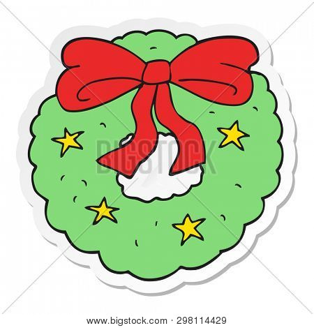 sticker of a cartoon christmas wreath