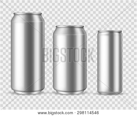 Realistic Aluminum Cans. Blank Metallic Can Drink Beer Soda Water Juice Packaging 300 330 500 Empty