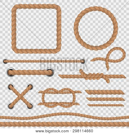 Brown Rope. Realistic Ropes Marine Cord, Nautical Curved Round Twine Hemp Link Jute Border Vintage C