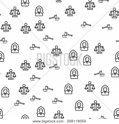 Justice In Courthouse Seamless Pattern Vector. Courthouse And Judge, Gavel Or Hammer, Judicial Scale