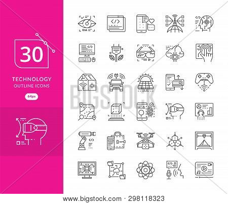 Set Of Icons In Trendy Linear Style Technology. Modern Thin Line Icons Set Of Future Technology And