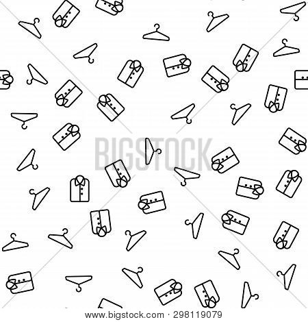 Coat Hanger And Shirt Seamless Pattern Vector. Clothes Hanger And Sweatshirt Or Tunic Icons. Fashion