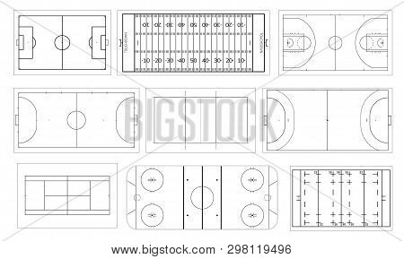 Set Of Sport Field. Handball And Basketball Court, Football Or Soccer Field, Ice Hockey Rink. Volley