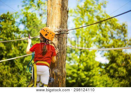 Little Brave Caucasian Girl Treerunner Fasten The Rollclip Before Climbing