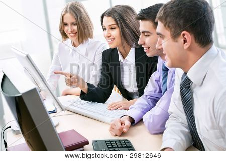 Business team working at a computers in the office