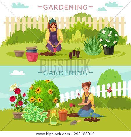 Gardening Cartoon Horizontal Banners. Set Of Two Horizontal Banners On The Garden Theme Cartoon Styl