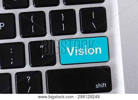 Data Analysis Concept. Laptop Keypad With Text Vision On Blue Button, Closeup