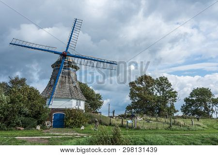 Windmill Immanuel, A Typical Smock Mill At The West Coast Of Northern Germany