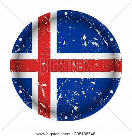 Iceland - Round Metallic Scratched Flag With Six Screw Holes In Front Of A White Background