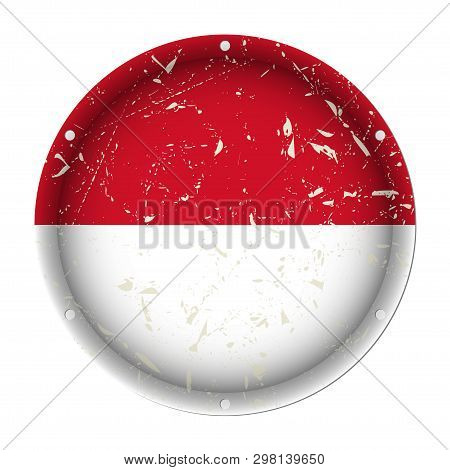 Indonesia - Round Metallic Scratched Flag With Six Screw Holes In Front Of A White Background