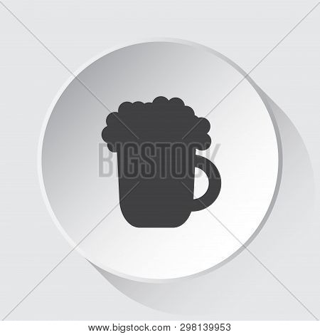 Beer With Foam - Simple Gray Icon On White Button With Shadow In Front Of Light Gray Square Backgrou