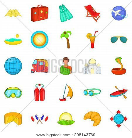 Overseas Icons Set. Cartoon Set Of 25 Overseas Icons For Web Isolated On White Background