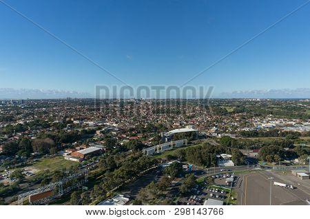 Aerial View Of Sydney Neighbourhoods, Suburbs Of Mascot, Rosebery And Eastlakes. Sydney Metro Suburb