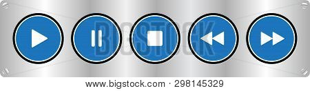 Blue, White Round Music Control Buttons Set - Five Buttons On A Metal Plate With Rounded Corners Wit