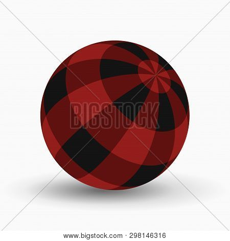 Red And Black Tartan, Plaid Ball With Shadow In Front Of A White Background