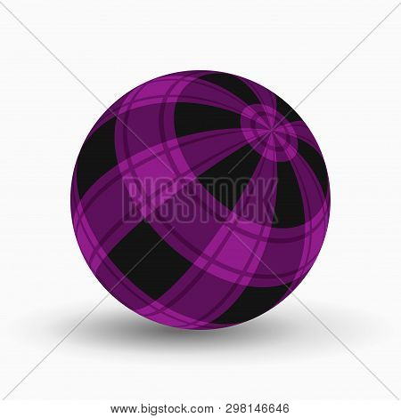 Purple And Black Tartan, Plaid Ball With Translucent Violet Stripes And Shadow In Front Of A White B