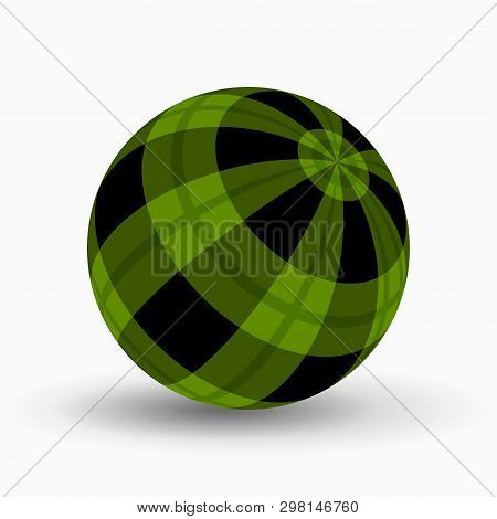 Green And Black Tartan, Plaid Ball With Translucent Green Stripes And Shadow In Front Of A White Bac
