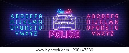 Police Neon Sign, Bright Signboard, Light Banner. Police Logo, Emblem And Label. Neon Sign Creator.