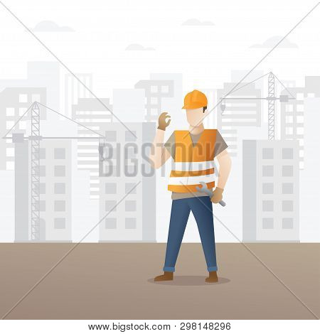 Construction Worker Holding Wrench. Building And Construction Industry Cartoon Background With Worke