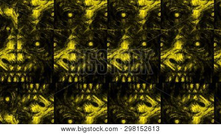 Scary Zombie Face Pattern On Black Background. Illustration In Horror Genre. Abstraction Monster Cha
