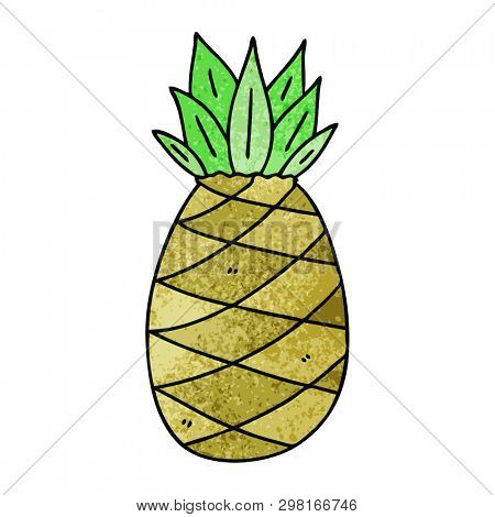 hand drawn quirky cartoon pineapple