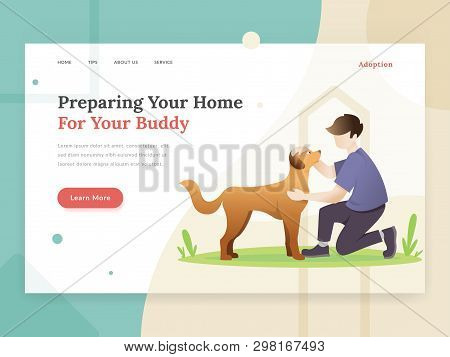 Landing Page Template Of Pet Care. Modern Flat Design Concept Of Web Page Design For Pet Website. Ve
