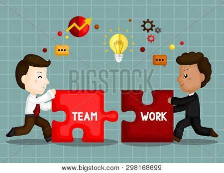 A Vector Of Cute Businessman Working On A Great Team Work To Be Success