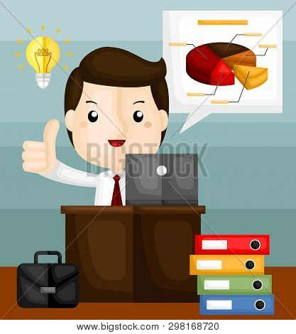A Vector Of Cute Businessman Working Hard On Pie Chart And Data