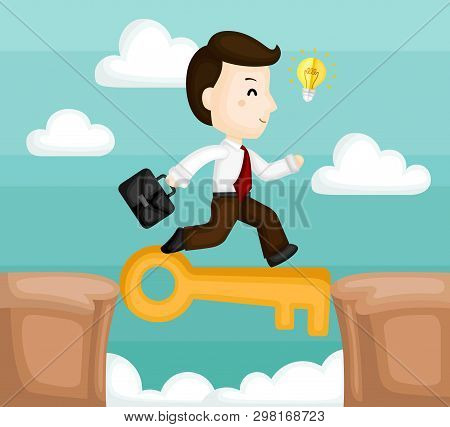 A Vector Of Cute Businessman Running Cross The Cliff With Key To Success