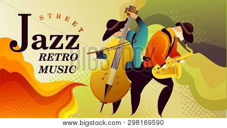Classic Music Festival Jazz Rock Concert, Jazz Gangs. Horizontal Vector Banner Illustration. Banner