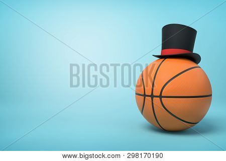 3d Close-up Rendering Of Basketball With Little Black Tophat On Top On Light-blue Background.