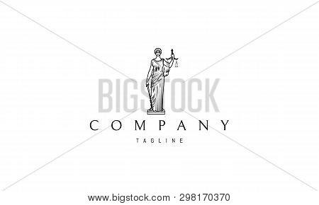 Lady Justice Statue Black Vector Logo 4 Design