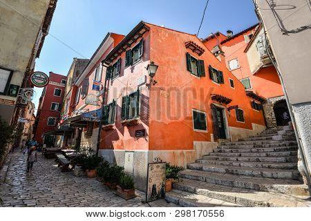 Rovinj, Croatia - May 22, 2018: View On Bright Building Exteriors Of Coastal Town Of Rovinj, Istria,