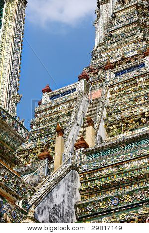 stairway in Wat Arun, the Temple of Dawn, Bangkok, Thailand poster