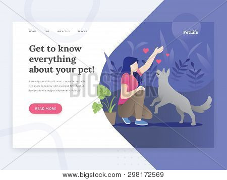 Modern Flat Design Concept Of Web Page Design For Pet Stores, Pet Consults Website. Illustration Of