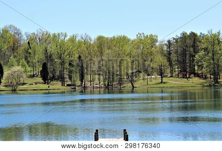 An Early Spring Afternoon Looking Across The Lake At Vastwood State Park In Hawesville, Kentucky.