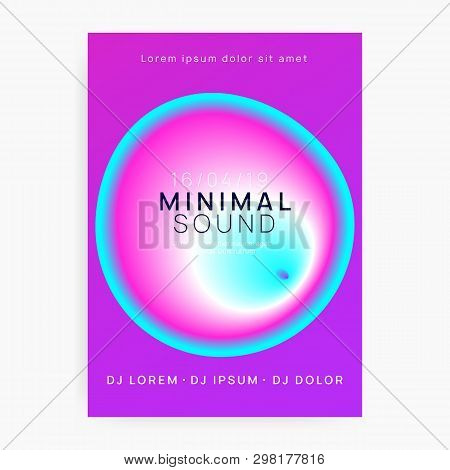 Music flyer. Fluid holographic gradient shape and line. Geometric trance club presentation layout. Electronic sound. Night dance lifestyle holiday. Poster for summer fest and music flyer. poster