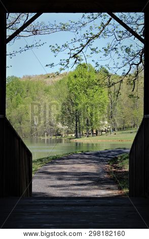 From The Darkened Interior Of This Covered Bridge, Looking Across The Lake Toward The Green Trees On