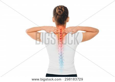 Pain In The Spine. Composite Of Image Spine And Female Back With Backache.