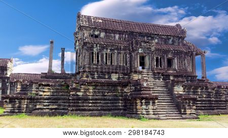 Ancient Ruins Khmer Temple In Angkor Wat Complex, Siem Reap, Cambodia. Largest Religious Monument In