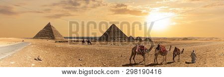 Panorama Of The Pyramid Of Khafre, The Pyramid Of Menkaure And The Three Pyramid Companions, Giza, E