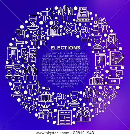 Election And Voting Concept In Circle With Thin Line Icons: Voters, Ballot Box, Inauguration, Corrup