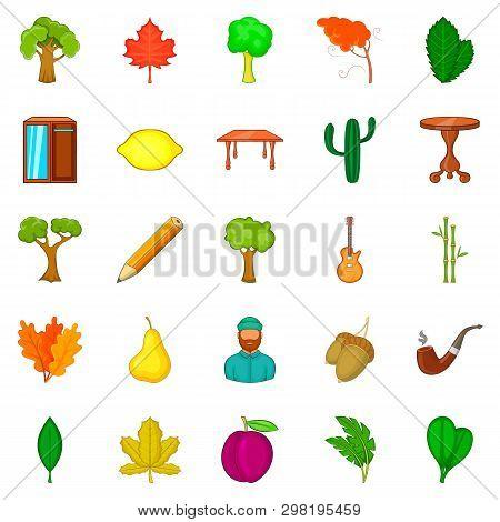 Fallen Foliage Icons Set. Cartoon Set Of 25 Fallen Foliage Icons For Web Isolated On White Backgroun