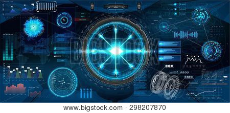 Futuristic Interface Hud Design For Business App. Abstract Technology, Concept Futuristic Sci-fi Use