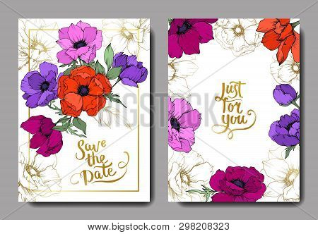 Anemone Floral Botanical Flowers. Black And White Engraved Ink Art. Wedding Background Card Floral D